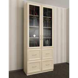 двухдверный книжный шкаф со стеклянными дверями с витражом