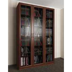 витражный 3-створчатый книжный шкаф