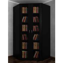 2-дверный шкаф угловой со стеклянными дверцами в зал черного цвета