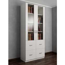 книжный шкаф со стеклянными дверями цвета белый