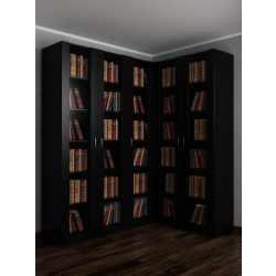 Широкий книжный шкаф угловой со стеклянными дверцами черного цвета