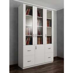 книжный шкаф со стеклянными дверцами с ящиками