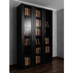 3-дверный шкаф для книг черного цвета