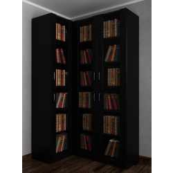 3-створчатый угловой шкаф в кабинет под книги черного цвета