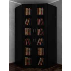 Двухдверный шкаф угловой со стеклянными дверцами для книг черного цвета