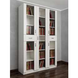 книжный шкаф со стеклянными дверцами с ящиками для мелочей