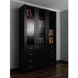 Широкий книжный шкаф со стеклянными дверями с ящиками для мелочей черного цвета
