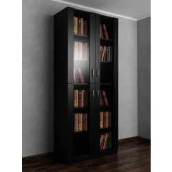 2-дверный книжный шкаф со стеклом черного цвета