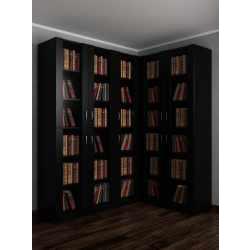 Большой шкаф угловой со стеклянными дверями под книги черного цвета