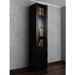 1-створчатый книжный шкаф со стеклянными дверцами черного цвета