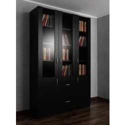 Трехдверный книжный шкаф со стеклянными дверями черного цвета