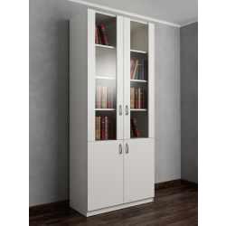 книжный шкаф со стеклом цвета белый