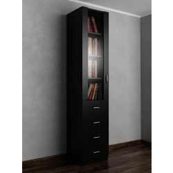 Однодверный книжный шкаф со стеклом с ящиками черного цвета