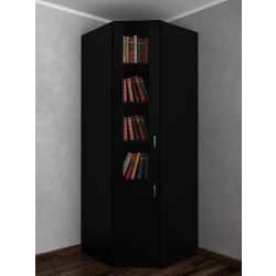 Книжный шкаф угловой со стеклянными дверями в гостиную черного цвета