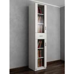 книжный шкаф со стеклянными дверями с ящиками