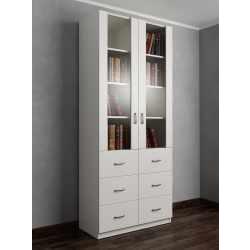книжный шкаф со стеклянными дверцами с выдвижными ящиками