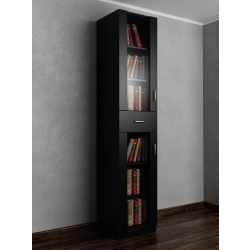 Однодверный книжный шкаф со стеклянными дверями с ящиками для мелочей черного цвета