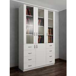 книжный шкаф со стеклянными дверями с выдвижными ящиками