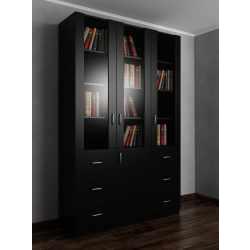 Широкий шкаф для книг с выдвижными ящиками черного цвета