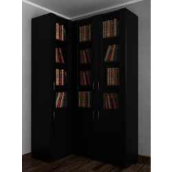 Широкий книжный шкаф угловой в гостиную черного цвета