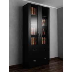 Книжный шкаф со стеклянными дверями с выдвижными ящиками шириной 80-90 см черного цвета
