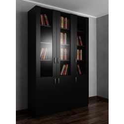 3-створчатый книжный шкаф со стеклом черного цвета