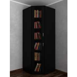 Однодверный угловой шкаф в кабинет для книг черного цвета