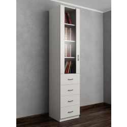 книжный шкаф со стеклом с ящиками для мелочей