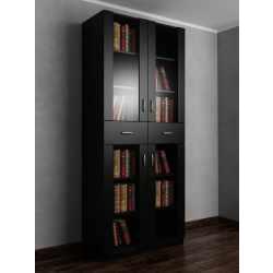Двухдверный шкаф для книг черного цвета