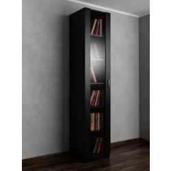 1-створчатый книжный шкаф со стеклом черного цвета