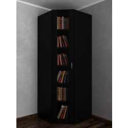 Узкий книжный угловой шкаф в кабинет черного цвета