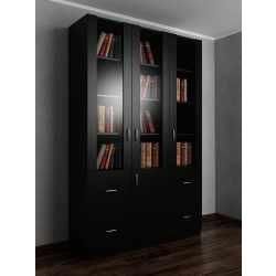 3-дверный книжный шкаф со стеклянными дверцами с выдвижными ящиками черного цвета
