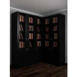 Широкий угловой шкаф в гостиную для книг черного цвета