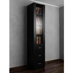 Шкаф для книг пенал с ящиками для мелочей черного цвета
