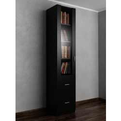 1-створчатый книжный шкаф с ящиками для мелочей черного цвета