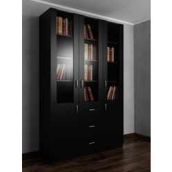 Книжный шкаф с ящиками для мелочей шириной 120-135 см черного цвета
