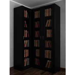3-створчатый угловой шкаф со стеклянными дверями под книги черного цвета