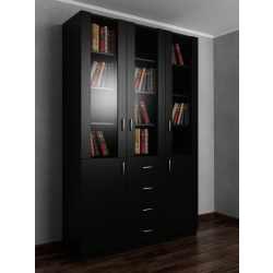 Книжный шкаф со стеклом с ящиками для мелочей шириной 120-135 см черного цвета