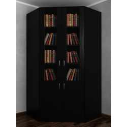 Угловой шкаф со стеклом в кабинет для книг черного цвета