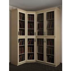 угловой шкаф со стеклянными дверями под книги