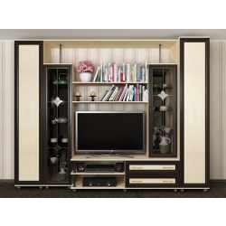 мебельная стенка в гостиную с витражом