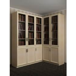 широкий книжный угловой шкаф