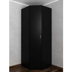 Одностворчатый угловой шкаф для одежды для спальни черного цвета