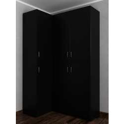 Платяной распашной угловой шкаф для спальни черного цвета