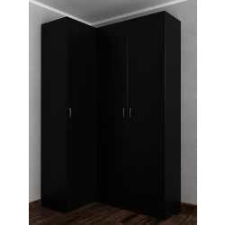 Платяной угловой шкаф с распашными дверями шириной 120-135 см черного цвета